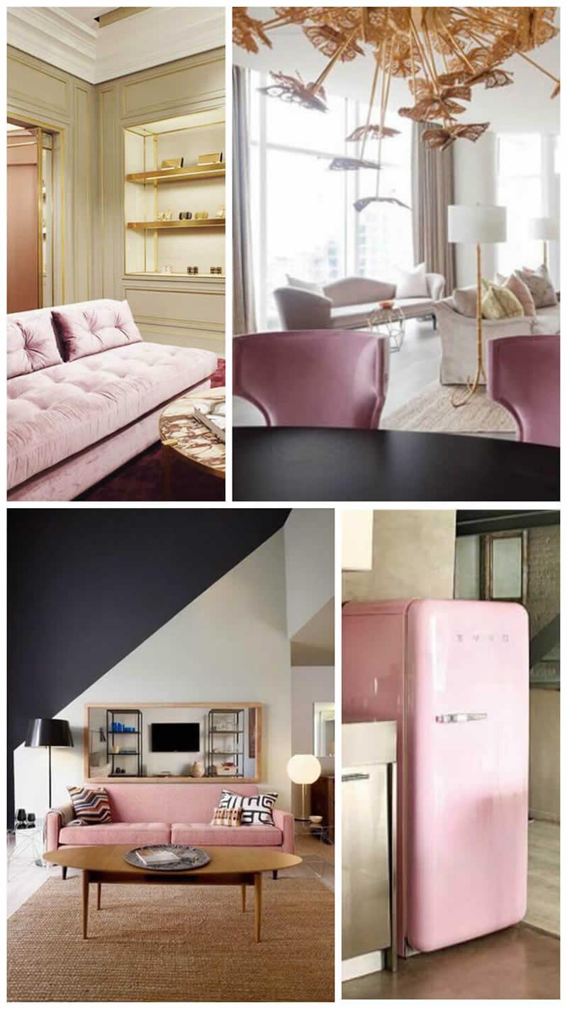 Decoração de mobiliário cor Rose Quartz