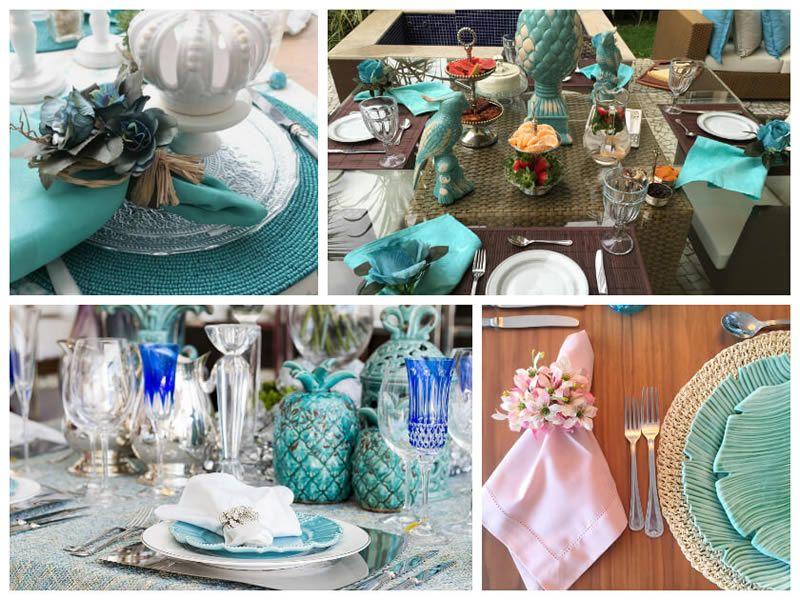 Charme de mesa posta com detalhes em Azul Turquesa