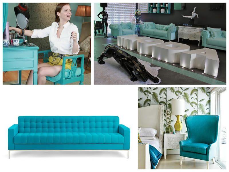 Decoração com móveis azul Tiffany