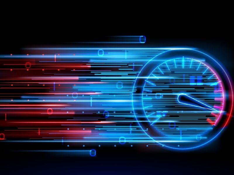 Imagem mostra um velocímetro em forma de aceleração, tema do artigo sobre o site mais confiável para medir a velocidade da internet em 2021